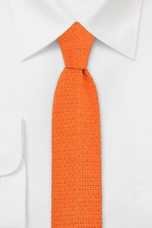 Strickkrawatte 100% Seide Uni Orange 631502-34