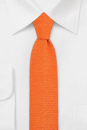 Strickkrawatte 100% Seide Uni Orange 631502-34